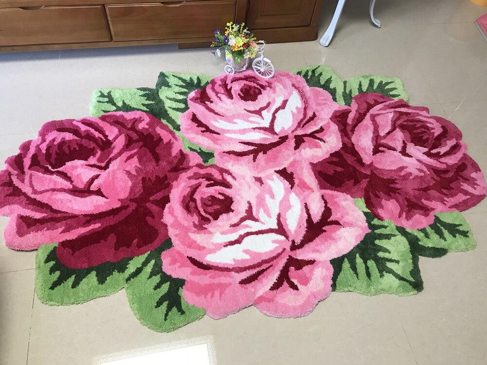 Haute qualité luxe 3d rose tapis chambre tapis maison salon mariage amant fleur tapis salon art tapis de sol doux 200*120cm - 3