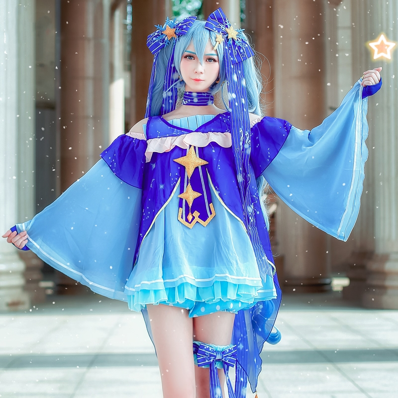New Vocaloid Hatsune Miku Cosplay Costume Snow Miku Cosplay Fancy Dress Full Set Carnival Halloween Costumes For Women S-XL