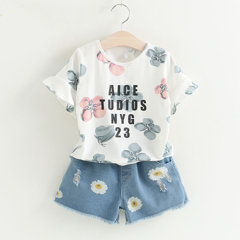 Girls 2018 Summer New Baby Girls Clothes Sets Fashion Style Printed Short-sleeved+Denim Shorts 2Pcs For Kids Girls Clothes high quality fashion girls clothing sets lady style sweatshirt shorts 2pcs autumn winter baby girls clothes set 2015 brand new