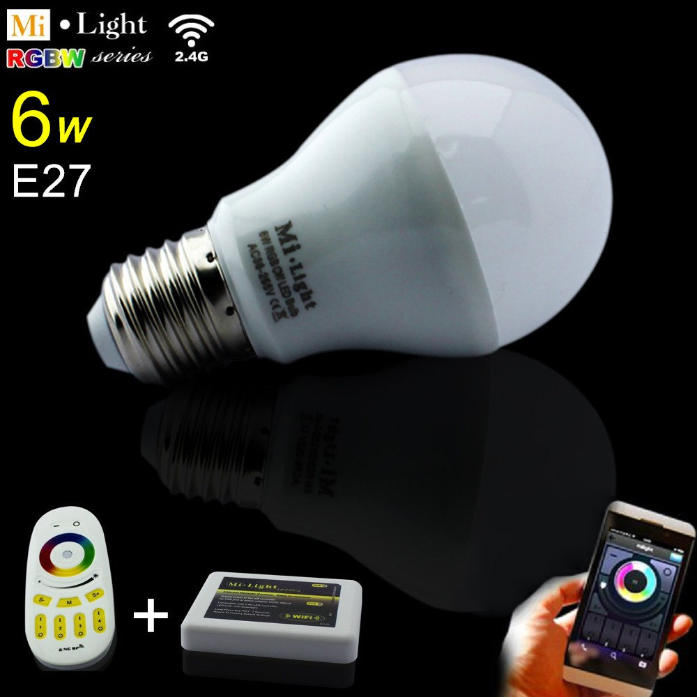 AC85-265V 2.4G E27 6W Color Temperature Adjustable Dual RGB(CW/WW) CCT LED Bulb+4Zone RF Wireless Touch Remote+WiFi Controller ac110v 240v dx62 wall mount 2 4g rf wireless led sync cct color temperature controller dmx512 signal ouput for dual white strip
