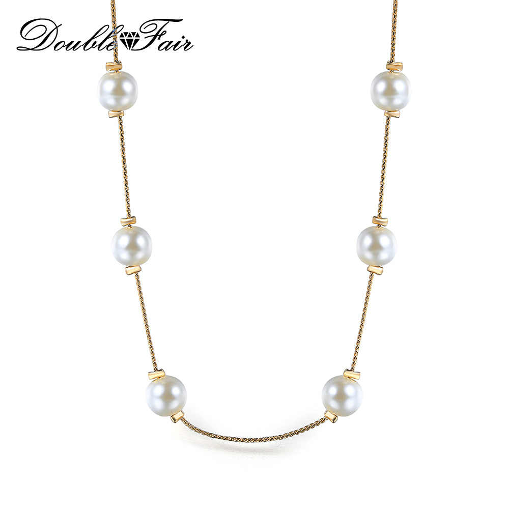 Double Fair 2018 New Fashion 8mm Pearl Statement Necklace In Chokers Necklace Yellow Gold Color Chain Jewelry Making DFN581M