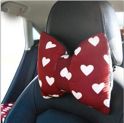 Love Red Чехлы рулевого колеса автомобиля Cotoon авто интерьер подголовник поддержка талии подушки сиденья чехлы Защита для девочек - Название цвета: 2pcs neck pillow