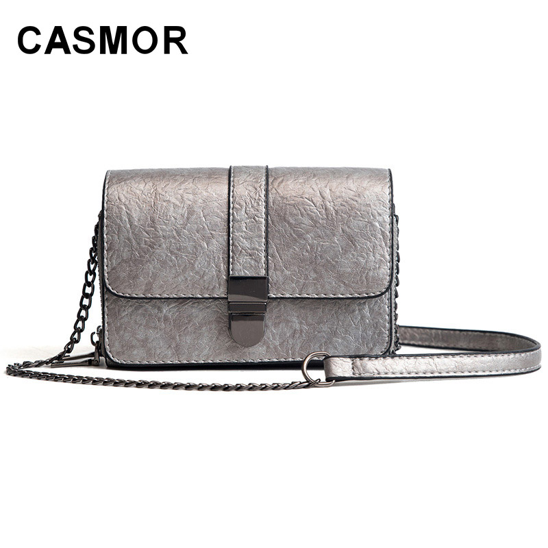 CASMOR Ladies Flap Handbags PU Leather Mini Shoulder Bags Small Chains Bag Women Crossbody Bags Fashion Female Messenger Bags