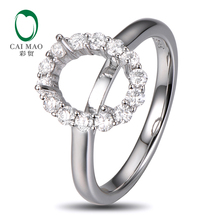 Caimao 18K White gold Natural 0.5ct Diamond Engagement Ring Jewelry Semi Mount 7x9mm Oval Cut Setting