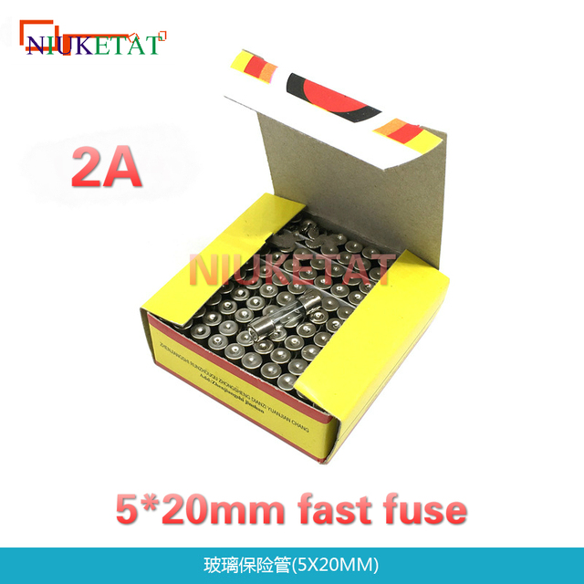 100pcs/box 5*20mm 2A 250V Fast fuse 5*20 F2A 2000mA 250V Glass Fuse New and original