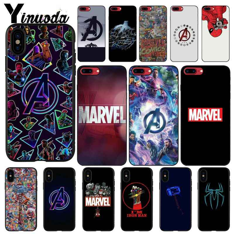 Yinuoda Marvel avengers Logo Iron Man Spiderman Coque Shell Phone Case for iPhone X XS MAX  6 6s 7 7plus 8 8Plus 5 5S SE XR