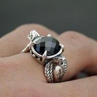 Серебряный черный камень поверхность кольца King Cobra Человек Тайский серебряное кольцо
