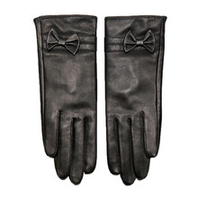 Genuine Leather Gloves Female Classic Black Sheepskin Butterfly Knot Keep Warm Womans Driving DQ6102