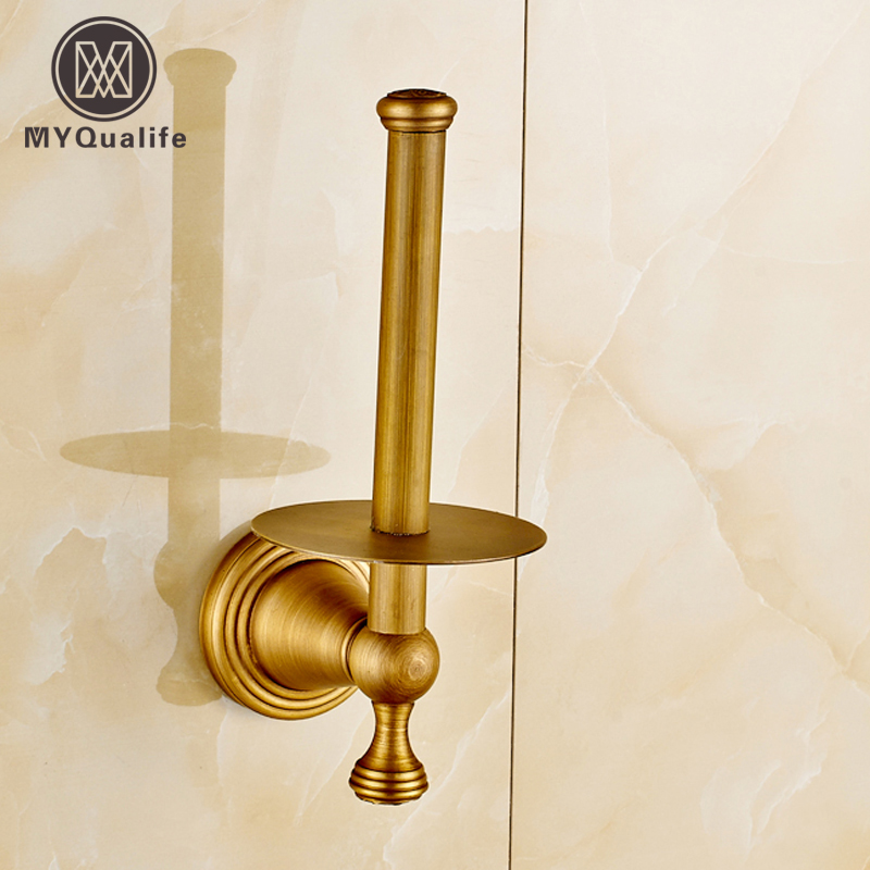 Free Shipping Wholesale And Retail Retro Style Antique Brass Toilet Paper Holder Wall Mounted Roll Toilet Paper Rod wholesale and retail wall mounted bathroom toilet paper holder antique black brass roll tissue box free shipping 7816