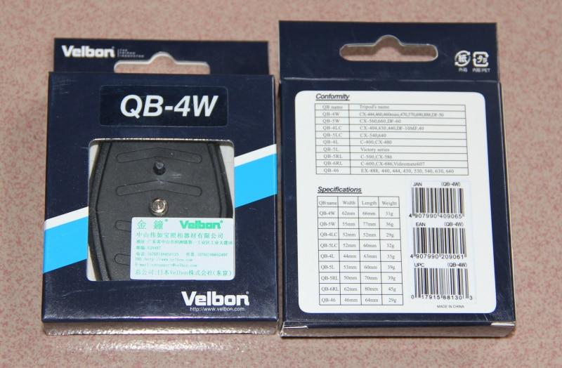 Velbon QB-4W Quick Release Plate for CX-444 VCT-D580RM,CX 460/CX 888
