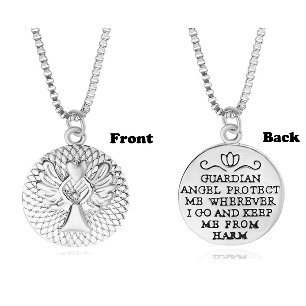 Charm Silver GUARDIAN ANGEL PROTECT ME WHEREVER I GO AND KEEP ME FROM HARM Double-faced Guardian Angel Pendant Necklaces Party