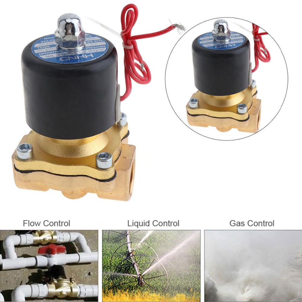 1/2 valve valve válvula ac220v ac110v dc12v dc24v válvula solenóide elétrica com two-way two-position para água/óleo/gás