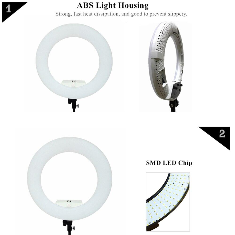 Yidoblo blanco FS 480II 5500 K Bio color Cámara foto/estudio/teléfono/vídeo 18 480 LED lámpara LED de luz de anillo + trípode de 2 M + Kit de bolsa suave - 5