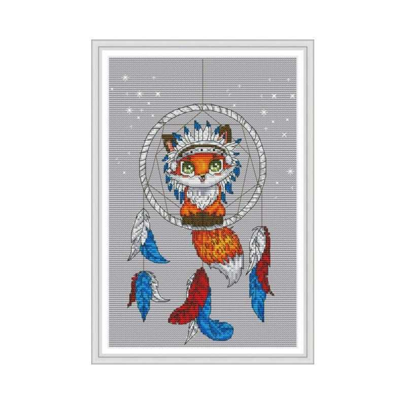 Joy Sunday Little Fox Cross Stitch Pattern 11ct Printed On Canvas DMC Embroidery Floss 14ct Counted Aida Cross Stitch Needlework