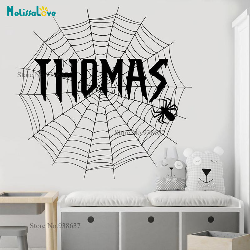 Spider Theme Stickers Personalized Sticker Cobweb Baby Boy Room Removable Vinyl Wall Decal Custom Name Nursery BA052 interior design
