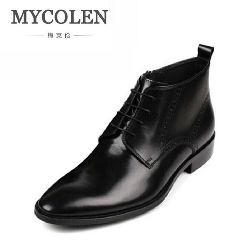 MYCOLEN Brand Men Boots Comfortable Winter British Trend Quality Fashion Ankle Boots Autumn Casual Men Leather Martin Boots maden brand 2017 ner fashion brown men boots comfortable high quality leather boots british style heighten tooling boots