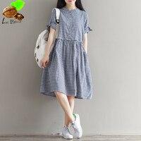 Harajuku Fluid One Piece Linen Dress Loose Vintage Plaid Medium Long A Line Dress Lattice Cute Pattern Mori Dress for Women