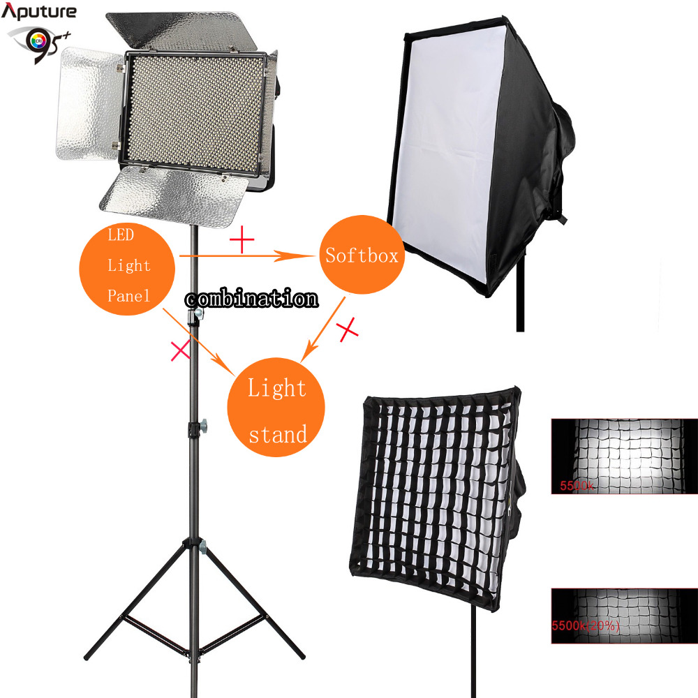 Aputure LS 1c Light Storm 1536 SMD Led Video Light Kit Bi-Color 3200K-5500K LED Fill Lamp Lighting Panel&Softbox&Tripod
