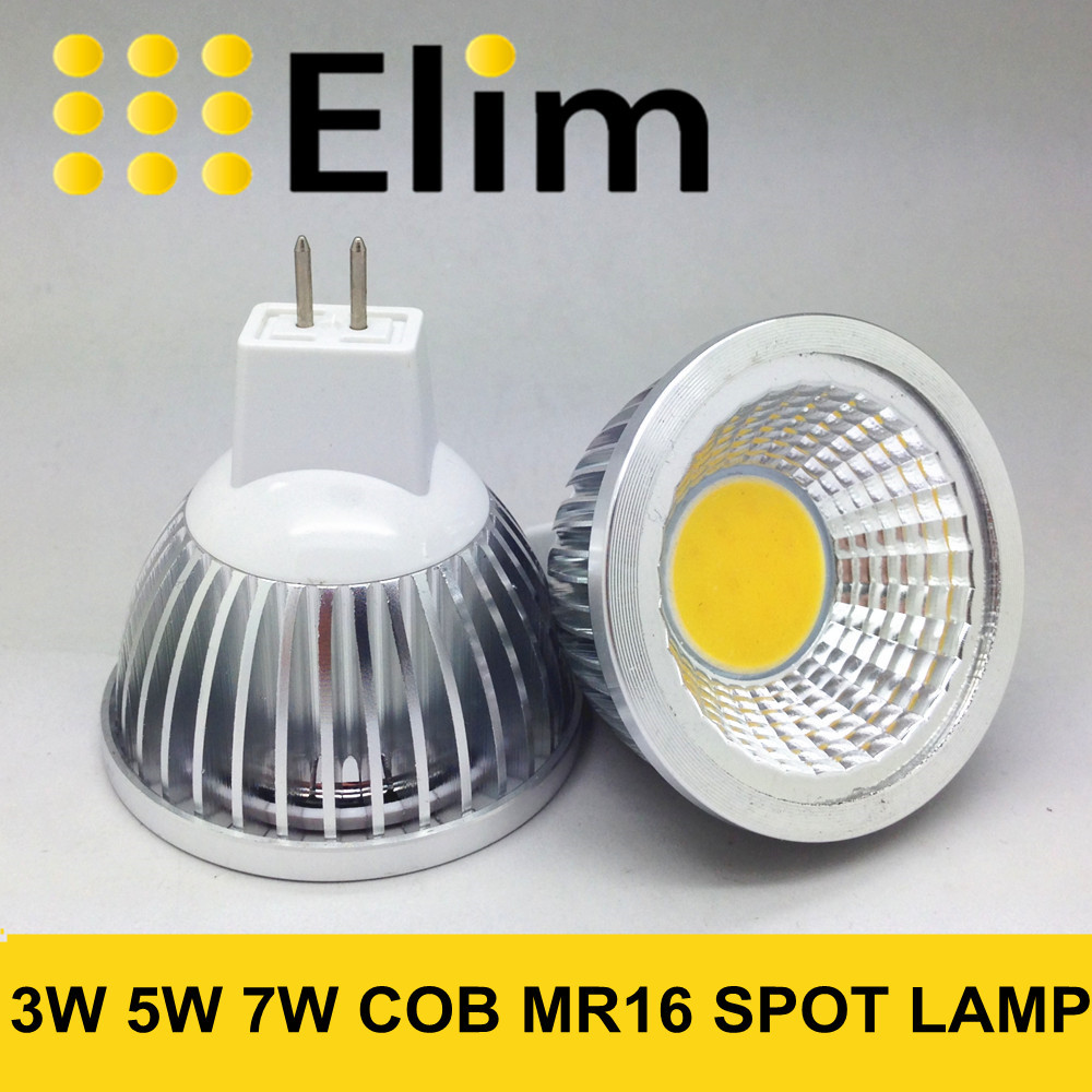 MR16 COB LED lamp 12v MR16 3W 5W 7W Warm White 2700K 3000K 4500k 6000k cool white Spot Light Bulb Lamp 5w mr16 soft white cob spot bulb narrow flood led lamp 3000k 500lm 12v