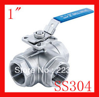 Free Shippig New Arrival 1 CF8 SS304 Stainless Steel Three Way Ball Valve T Port F