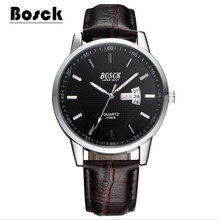 relojes hombre BOSCK Men's Sports Quartz Watches Mens Watches Top Brand Luxury Leather Waterproof Wristwatches Relogio Masculino