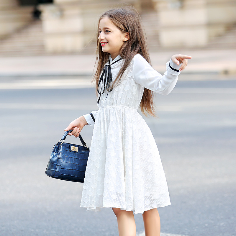 Spring Autumn Girls Princess Dress Clothing New Kids Dress White Lace Big Children Long Sleeves Dresses Teenager Girl Vestido