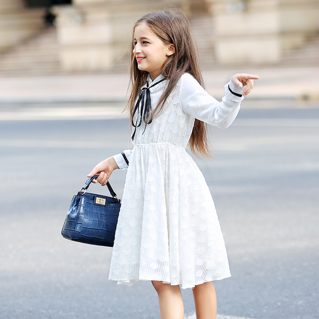 2dc22a609d15f Spring Autumn Girls Princess Dress Clothing New Kids Dress White Lace Big Children  Long Sleeves Dresses