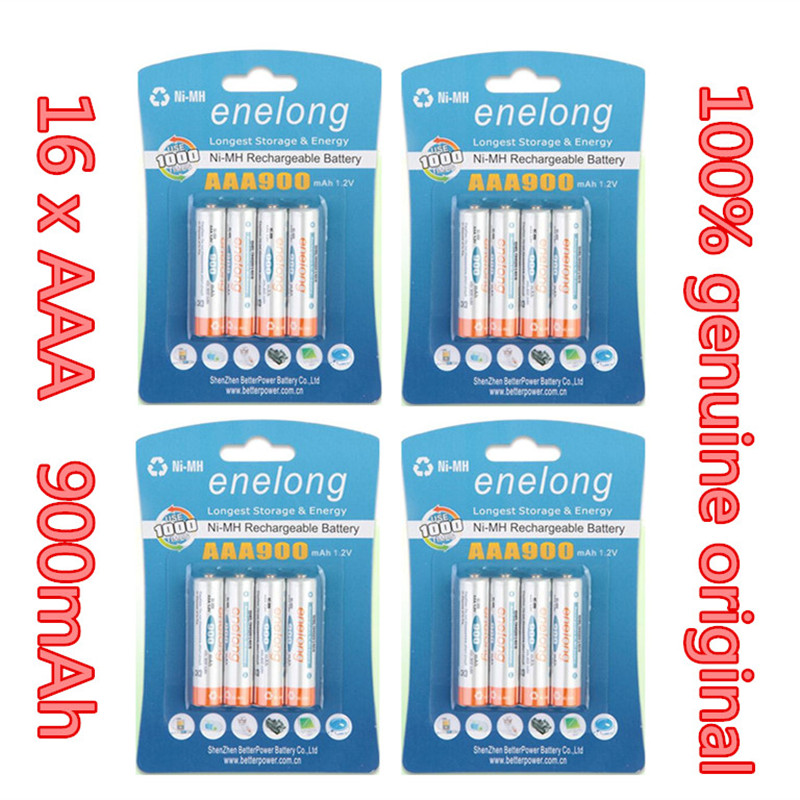 Ni-MH 900mAh AAA Batteries 1.2V AAA Rechargeable Battery Low Self-Discharge enelong 16Pcs/4card