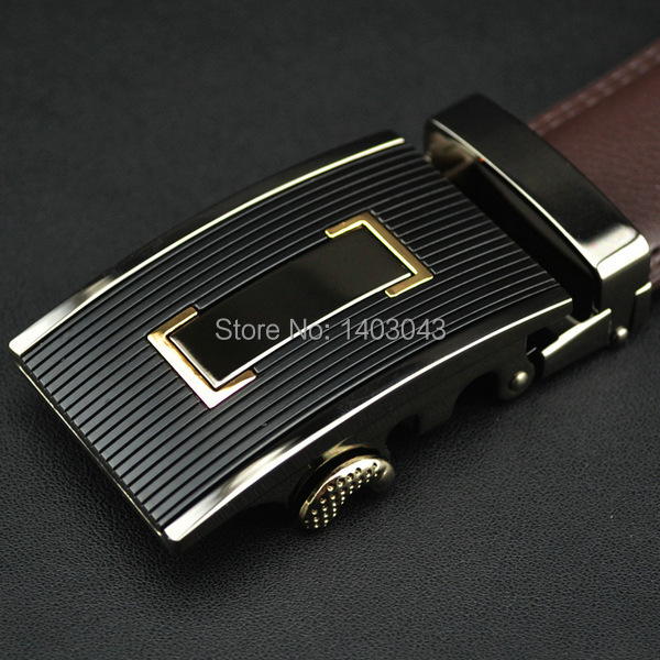 WOWTIGER Free shipping Automatic buckle belts Luxury automatically cowhide men belt brown black belts for men 4