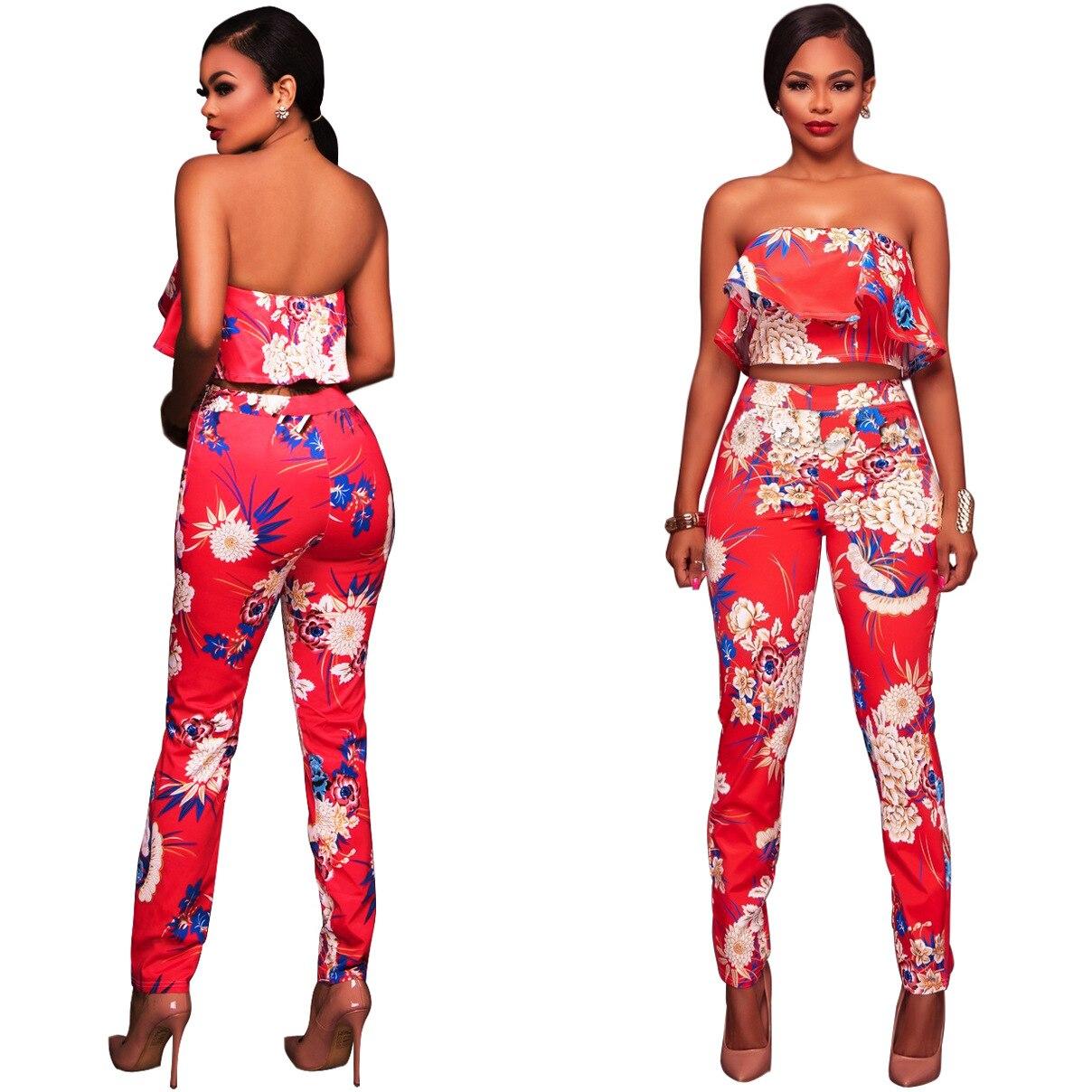 CFYH Women's Sets 2 Piece Flower print Set Women Sexy Strapless Tops+ Pants suit Set Patchwork women's suits set