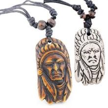 Ручной резной кости яка Винтаж Племенной индийский главный кулон ожерелье деревянные бусины Веревка Регулируемый MN147