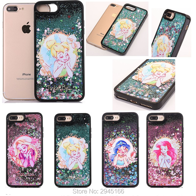 Glitter Liquid Quicksand Phone Case for iPhone 6 6s 6sPlus 7 8 Plus Cartoon Sleeping Beauty Sparkle Glitter Stars Cover Funda