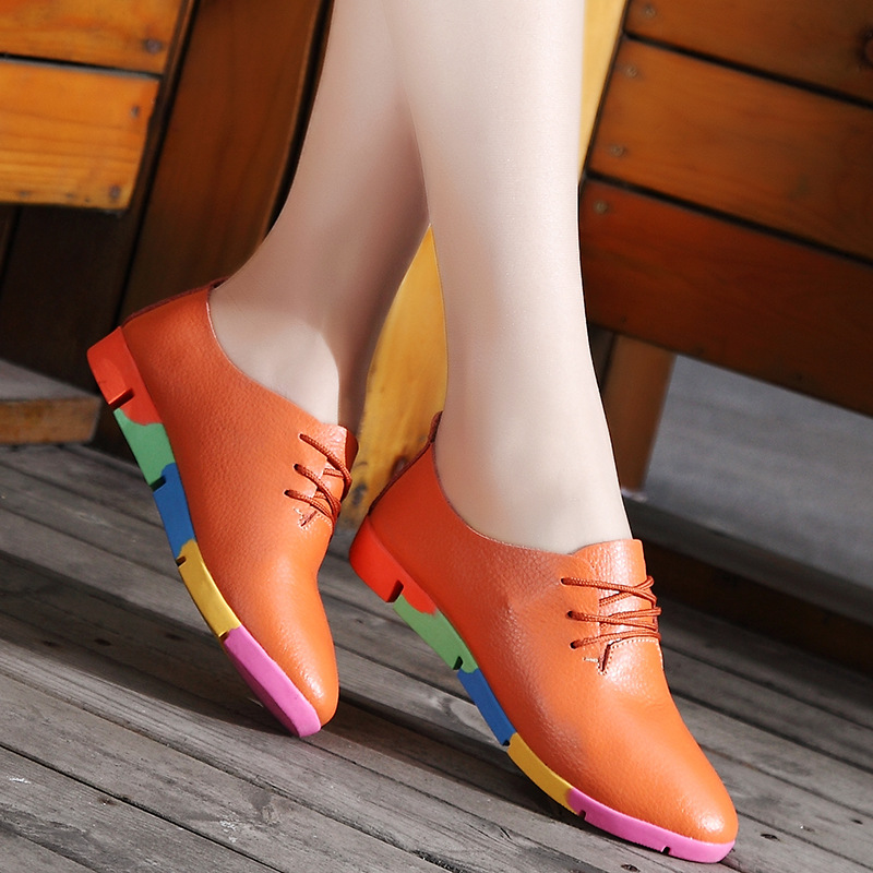 2020 New fashion Women shoes flats genuine leather casual shoes woman flats shoes comfortable lace-up women sneakers plus size