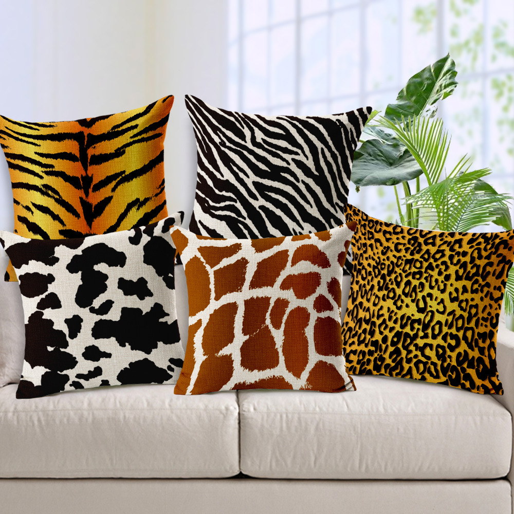 Decorative throw pillows Animals Textures Zebra leopard tiger ...