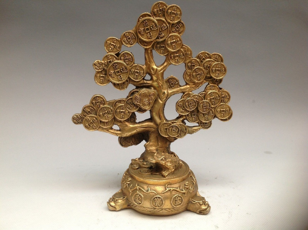 Chinese Copper Feng shui Lucky Wealth Money YuanBao Coin Tree Statue