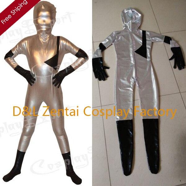 DHL de envío libre al por mayor los niños reales plata Zentai traje de superhéroe Cosplay disfraces niños Halloween traje kc1156