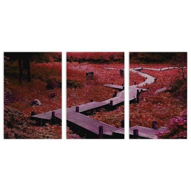 3 Panelen Mooie Tuin Landschap Muur Schilderij Canvas voor ...