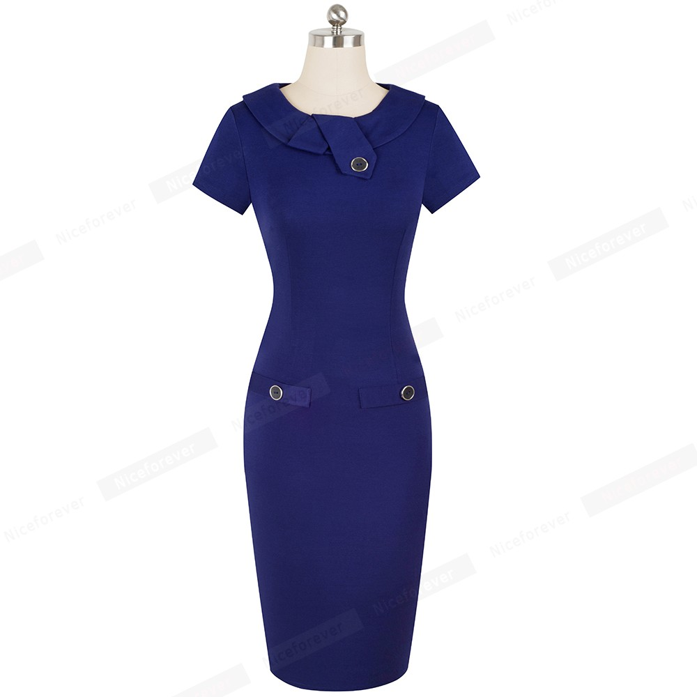 Image 5 - Nice forever Vintage Elegant Solid Color with Button Female Work vestidos Business Bodycon Office Women Sheath Dress B511Dresses   -