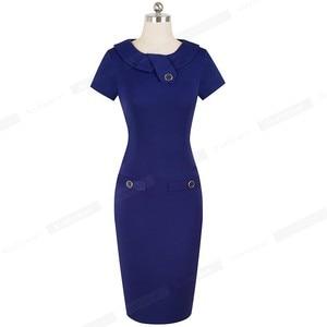 Image 5 - נחמד לנצח בציר אלגנטי מוצק צבע עם כפתור נשי עבודת vestidos עסקים Bodycon משרד נשים נדן שמלת B511