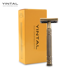 YINTAL Mens Bronze Classic Double-sided Manual Razor Long Handle Brass Zinc Alloy Safety Razors Shaving 1 5 Blades