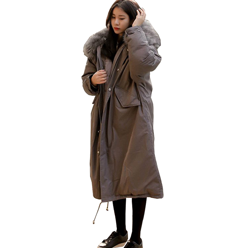 New 2017 Winter Jacket Women Big Large Raccoon Fur Collar Thick Loose size Coat outwear Parkas Army Green chesmono new 2017 winter jacket women loose hooded fur collar thick loose size coat outwear warm thick parkas army green black