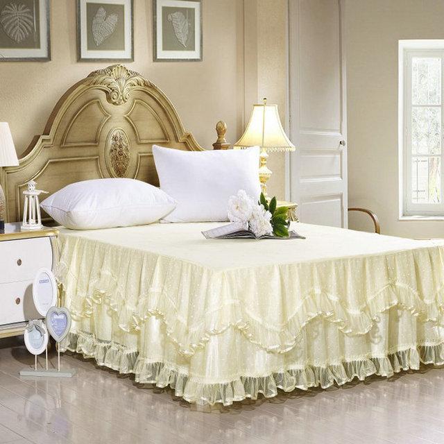 bedding set Rice yellow princess bud silk bed skirt bedspread ...