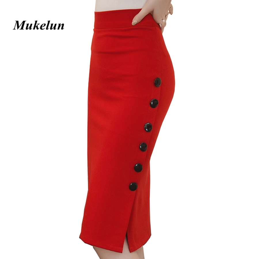 Plus Size 2018 Fashion Women Work Midi Nederdel OL Sexy Open Slit Button Slim Pencil Nederdel Elegant Office Ladies Nederdele Rød Sort
