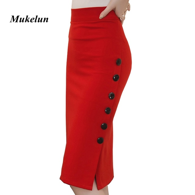 e73141c49d9bb Plus Size 2018 Fashion Women Work Midi Skirt OL Sexy Open Slit Button Slim Pencil  Skirt Elegant Office Ladies Skirts Red Black