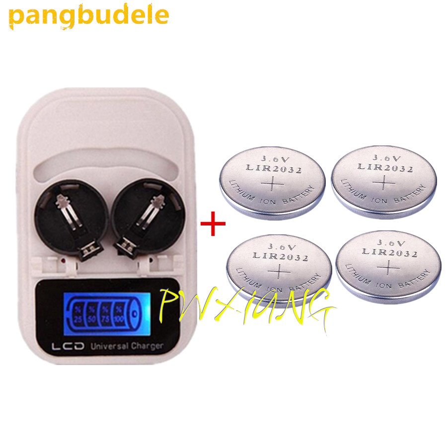 1PCS charger+4PCSLIR2032 , rechargeable LIR2032 LIR2025 LIR2016 3.6V button battery, LED rechargeable display, USB interface