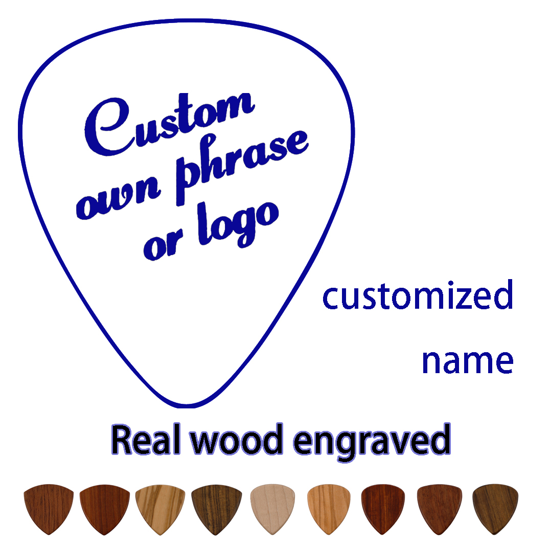 PERSONALISED CUSTOM Printed Guitar Picks Wood Engarved Music Plectrums With Your Name Logo Design Bass Picks Gift Wholesale OEM