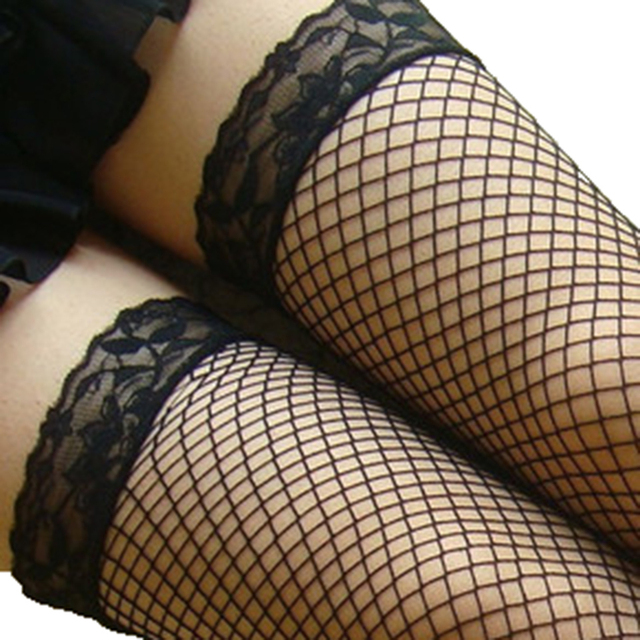 Fashion Women Sexy Stockings Solid Mesh Thigh High Stockings Fishnet Stockings Lace Pantyhose Medias