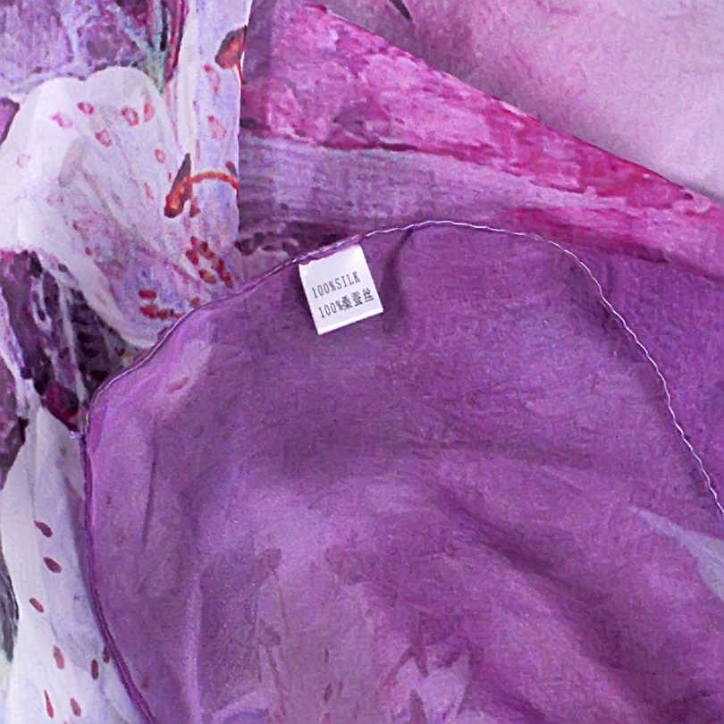 2016 秋冬ロングシルクスカーフショールファッション女性ロング 100% 桑シルクスカーフ夏薄型シルクシフォンビーチスカーフラップ