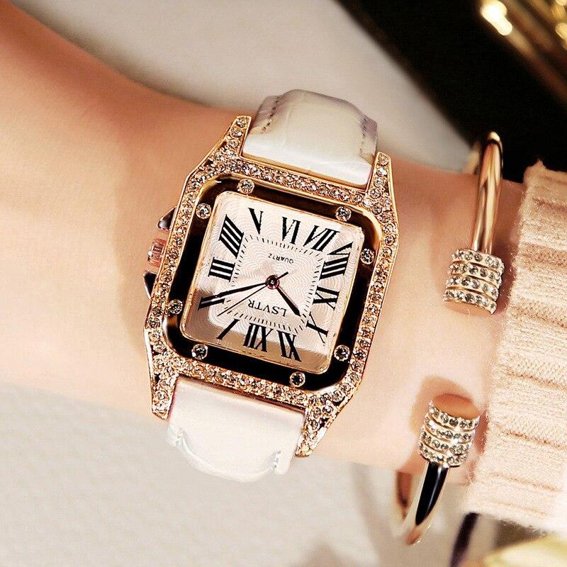 Women Square Diamond Wrist Watches For Ladies Dress Crystal Quartz Clock Leather Strap Bracelet Watch Zegarek Damski Reloj Mujer