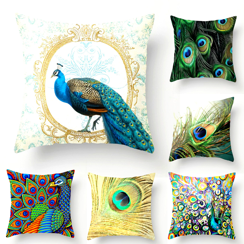 Peacock Print Car Styling Cushion Covers Polyester Throw Pillowcase Interior Decoration Decorative Home Sofa Seat